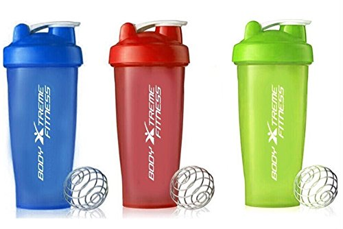 Body Xtreme Fitness Blue, Green, Red Mixing Shaker Bottle ✔ 28 ounce - Shaker Bottle Perfect for mixing Protein Shakes, Smoothies & Scramble Eggs!