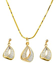 Glitters 22 Ct Gold Plated Party wear CZ Pendant Set for Women