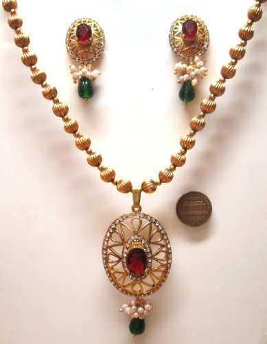 Bollywood Burgundy 2 Green Color Faux Garnet Emerald Golden Look 39 Gm 3 Pcs Necklace Earring Vintage Set Isyegvb