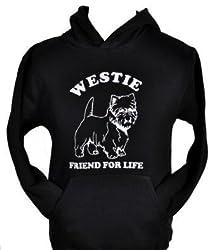 Westie~dog Lover Hoodie ~great Gift!~black Hoodie & White Glitter Size S-xxl
