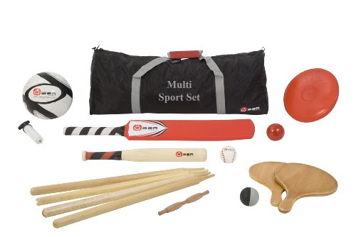Multi Sports Set - 5 in 1 sports set. This set contains equipment for 5 different outdoor sports including football, cricket bat and ball, rounders bat and ball, paddle tennis bats and ball, and a frisbee!