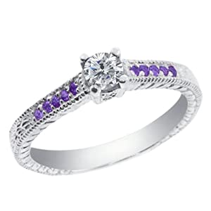 0.33 Ct Round G/H Diamond Purple Amethyst 925 Sterling Silver Engagement Ring