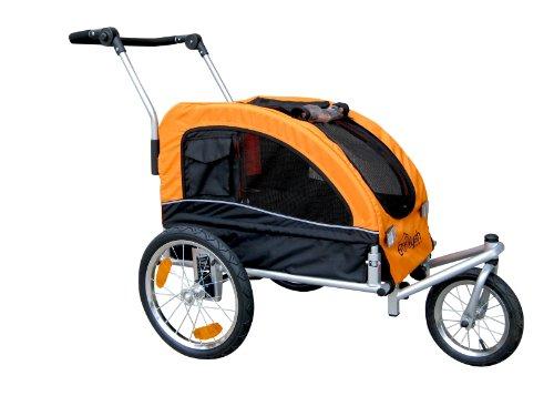 Booyah Medium Dog Stroller & Pet Bike Trailer With Suspension - Orange front-1079122
