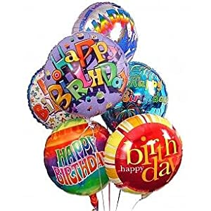 Half Dozen Mylar Balloon Bouquet, Birthday