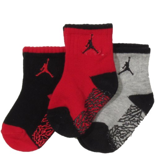 Jordan Baby Elephant Gripper Socks 3 Pack (6-24 Months) Red, 12-24 Months