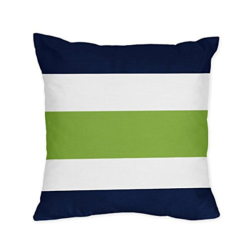 Navy Blue Lime Green And White Stripe 4 Piece Teen Boys