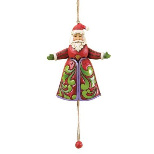 Jim Shore for Enesco Heartwood Creek Pull String Santa Ornament, 4.7-Inch