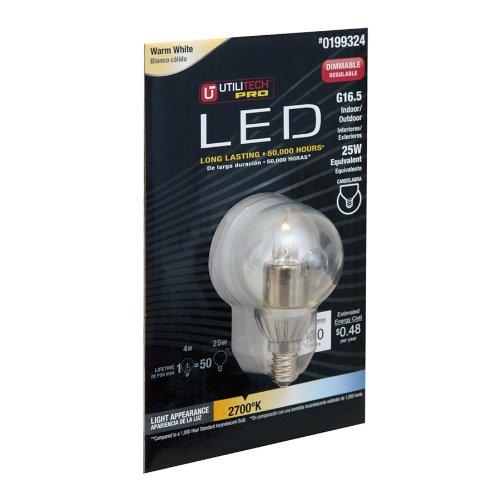 Utilitech Pro 4-Watt (25W) 199324 Warm White G16.5 Globe (2700K) Decorative Led Bulb