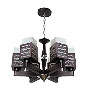 Buy learc designer lighting contemporary glass metal wood for Contemporary chandeliers amazon
