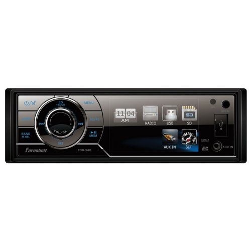 Farenheit Fdr-340 3.4-Inch Lcd Single-Din In-Dash Multimedia Receiver With Detachable Face