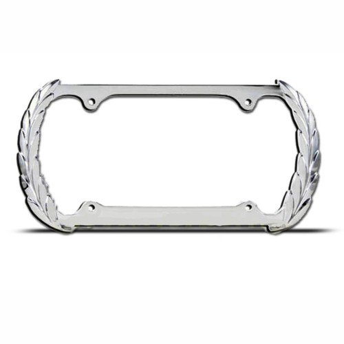 Plate Frame: Triple Metal Cadillac Wreath License Plate Frame