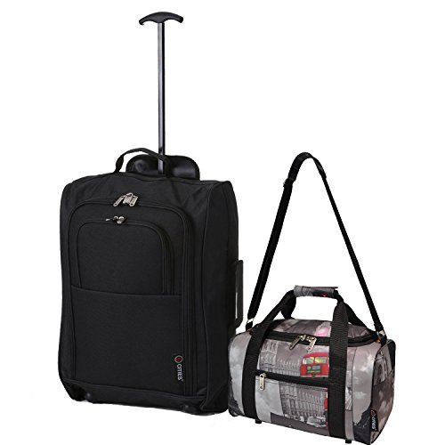 Ryanair Cabin 55x40x20 cm Approvato e seconda 35x20x20 bagaglio a mano Set - avanti entrambe le cose! (nero / Le città)