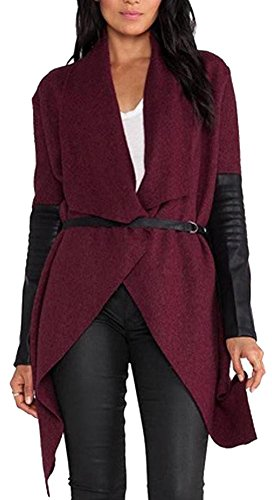 Ibagstyle®Womens PU Leather Irregular Woolen Long Sleeve Cardigan Jacket Coats