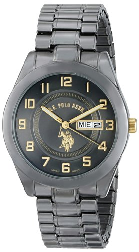 U.S. Polo Assn. Classic Men'S Usc80048 Gun-Metal Analogue Black Dial Expansion Watch