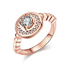buy Fendina Women'S 18K Rose Gold Plated Medals Ring Cz Crystal Anniversary Eternity Ring Promise Engagement Wedding Bands