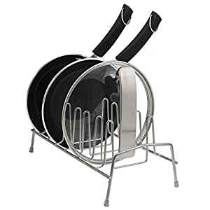 Home Logic Metal Pan & Lid Holder Cabinet Organizer Black Wire Drying Rack