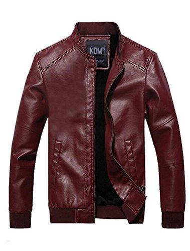 Vogstyle Uomo Giacchetta Attillata Basic Biker In Pelle Stile-6 Rosso XL