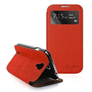 [Red] Tridea [Samsung Galaxy S4 IV S IV i9500] 100% Italian Standing View Cover S View Folio Premium Case for S4 i9500 Etui en cuir Porte-monnaie et Flip Stand Couvrir