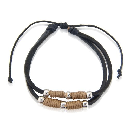 Gift Idea's- 2 Mens Bracelets in one, Black leather with silver balls Mens Fashion Bracelet.