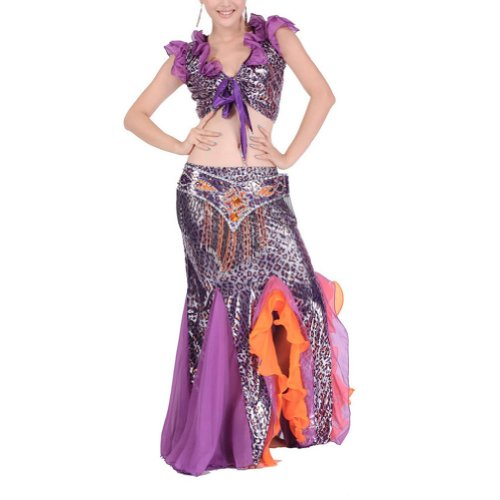 BellyLady Egyptian Belly Dance Costume, Leopard Print Wrap Top, Belt and Skirt
