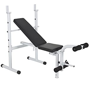 Best Choice Products® Deluxe Adjustable Flat Incline Weight Bench Press Leg Curl Home Gym Machine
