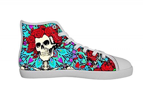 Rock Band Grateful Dead Men's Canvas Shoes Men White High Top Canvas Shoes-12M US