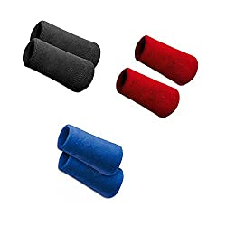 Black, Blue And Red Sports All Weather And Washable Stuff Long Wrist Band - Combo of 6 Bands
