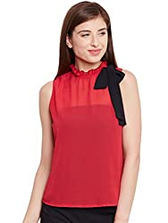 Purys Red Solid Side Bow Tie Top - Medium