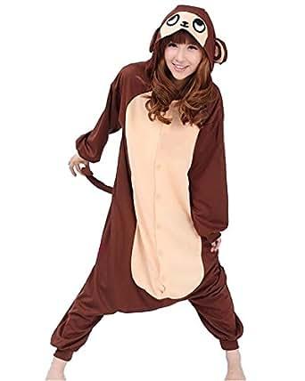 Samgu-animal Pyjama Pajamas Onesie Cospaly Party Fleece Costume Deguisement Adulte Unisexe (L(hauteur:170-180cm), Bronwn Monkey)