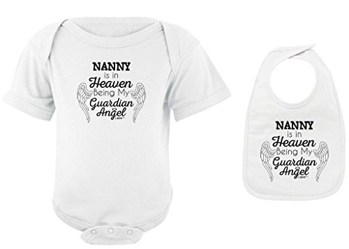 Baby Gifts For All Nanny in Heaven Being my Guardian Angel Bodysuit Bib Bundle