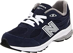 New Balance - unisex-child 990v3 Grade School Running Shoes, UK: 13 UK Junior, Navy with Grey & White