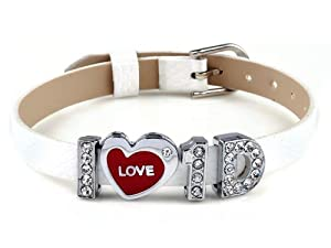 Imixlot® I Love One Direction I Love 1d Handmade in China White Wristband Bracelet Slider Crystal Letter