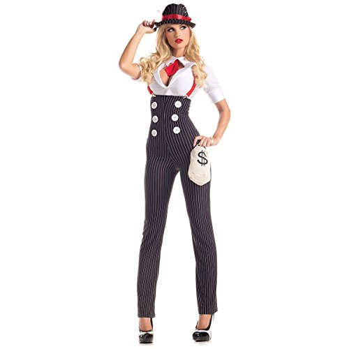 [GSG Gangster Costume Adult 20s Mafia Girl Bonnie and Clyde Halloween Fancy Dress] (20s Mafia Costume)