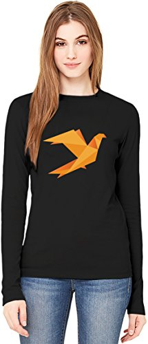 Orange Origami Bird T-Shirt da Donna a Maniche Lunghe Long-Sleeve T-shirt For Women| 100% Premium Cotton Ultimate Comfort Small