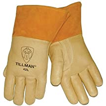 """Tillman Large Brown Top Grain Pigskin Cotton/Foam Lined Premium Grade MIG Welders Gloves With Straight Thumb, 4"""" Cuff And Kevlar Lock Stitching by John Tillman & Co"""