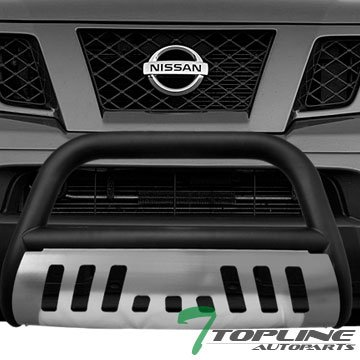 Topline Autopart Matte Black HD Heavyduty Bull Bar Brush Push Front Bumper Grill Grille Guard Protector Tubular Tube w/ Chrome Skid Protective Plate For 05-11 Frontier 05-07 Pathfinder 05-08 Xterra (2012 Xterra Grill Guard compare prices)