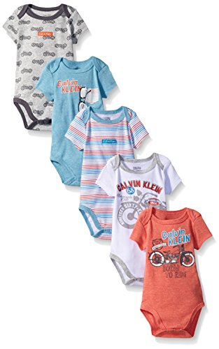Calvin Klein Baby Boys' 5 Pack Assorted Bodysuits, Coral/Blue/Motorcyle, 0-3 Months