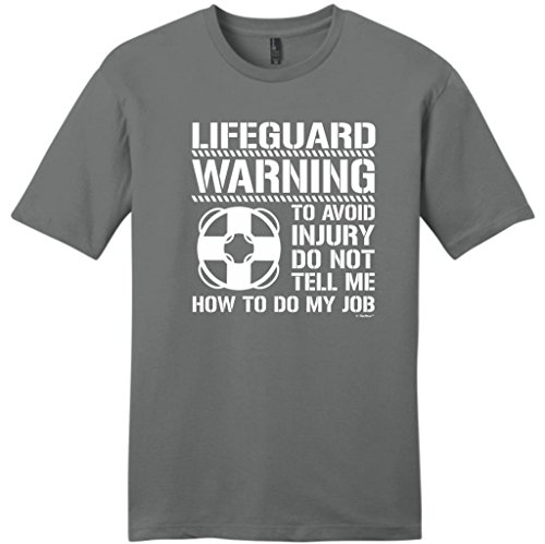 Avoid Injury Don't Tell Me How To Do Job Lifeguard Young Mens T-Shirt Large Grey (Baywatch Trunks)