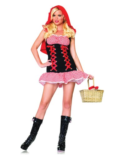 Sexy Corset Checkered Storybook Red Riding Hood Fairytale Adult Theatre Costumes