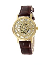 GT Gala Time Skeleton Roman Dial Brown Leather Strap Gold Case Wrist Watch For Men