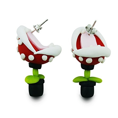 YUONUO Handcraft Polymer Clay earrings Super Mario Piranha Plant Corpse Flower Studs(One pair)