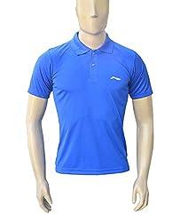 Li-Ning Badminton Polo T-Shirt, Men's Large (Blue)