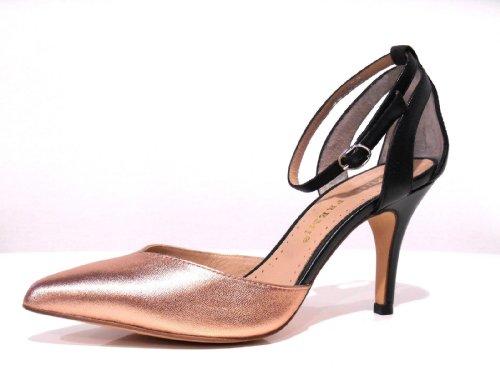 Bruno Premi - Scarpe donna decoltè sandalo chiuso in punta nero e oro, con cinturino, tacco medio alto, n. 38