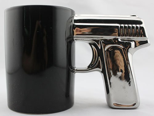 BLACK&SILVER-Pistol Cup,Gun Mug,Mug (Guns And Coffee Cup compare prices)