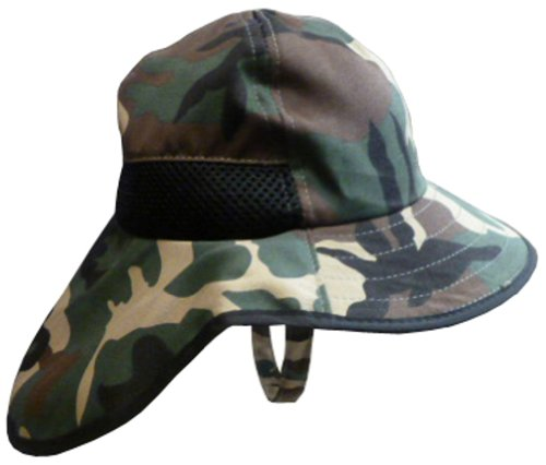 N'ice Caps Boys Wide Brim Flapper Hat with Side Mesh Ventilation (2-3yrs, green camo print) Mesh Print Tie