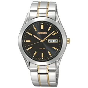 Click to buy Seiko Watches for Men: SNE047 Two-Tone Solar Black Dial Watch from Amazon!
