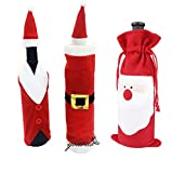 6PCS Santa Claus Wine Bottle Sets Suit Cover with Hat and Clothes for Table Decorations Xmas Dinner Home Party (3stlye,2pcs per stlye,total 6pcs)