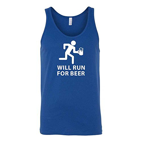 Will Run For Beer Graphic Clothing - Men's Tank Top - Blue - Medium (Will Run For Beer Shirt compare prices)