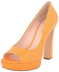 Vincenzio Robertina Womens Orange Leather Platform Heels- 39