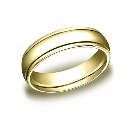 4.00 Millimeters Yellow Gold Wedding Band Ring 14Kt, Comfort Fit with Polished Finish, Style SE9903Y4 , Finger Size 6½